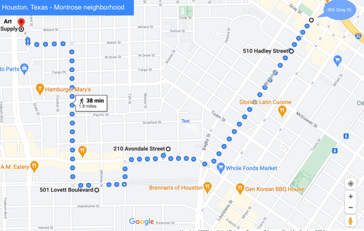A Houston neighborhood map linking three home addresses for Puz, one work location, and the residence of the friend who reported his death